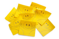 Post-it notes with smiley face. Photo with clipping path.